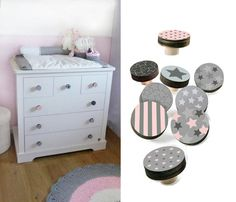 Pink and grey Dresser Knobs Stars design wood Knobs  by GalaStudio