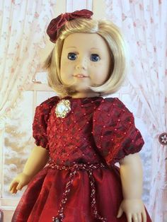 Burgundy Beaded Holiday Frock for Kit, Molly, or  Rurhie   eBay