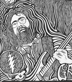 Jerry Garcia Grateful Dead Black & White Art by Posterography, $24.95