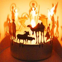 Nativity Scene candle votive shadow play gift, stainless steel attachment for candles incl postcard, € Christmas Crib Designs, Kalif Storch, Design3000, Flickering Lights, Christmas Nativity Scene, Spring Steel, Shadow Play, Christmas Settings, Votive Candles