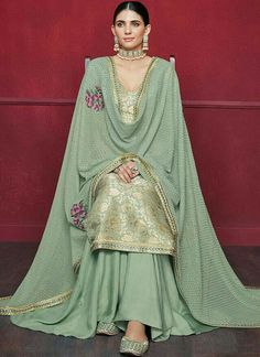 Buy Online Inviting Sea Green Party Wear Sharara Style Suit - Ethnic womens wear sharara style suit at best price Designer Kurtis, Indian Designer Suits, Punjabi Suits Designer Boutique, Punjabi Suits Party Wear, Indian Party Wear, Embroidery Suits Punjabi, Embroidery Suits Design, Indian Bridal Outfits, Pakistani Outfits