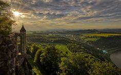 Download wallpapers Festung Koenigstein, Germany, Saxon Switzerland, valley, summer, sunset