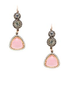Pink Triangle Drop Earrings by Azaara Vintage at Gilt