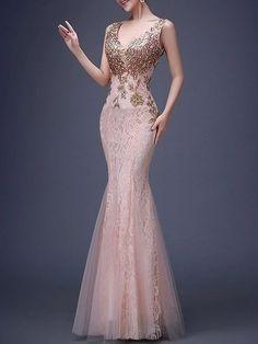 Plain Paillette Deluxe V Neck Party Dress