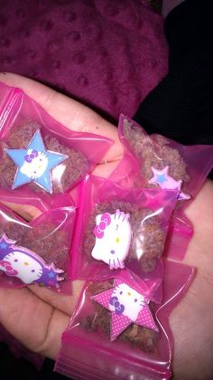cannabis in cute little Hello Kitty baggies! Ganja yes