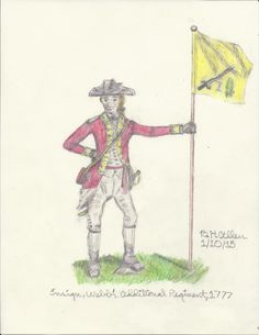 American Revolution, based on a work by Peter F. Copeland (artist for Osprey Publishing): An ensign of Colonel Samuel Blatchley Webb's Additional Continental Regiment of Foot, 1777. #AmericanRevolution #AmericanWarofIndependence #militaryhistory