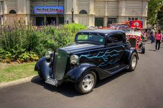 This 34 Chevy hot rod has lightning instead of the usual flames.