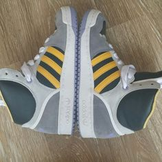 Vintage Adidas #hightops #shoes like knew..I have a huge collection and need to get rid of some for some space. #grey #yellow #white #black #oldschool #hiphop #dance #dancers #adidas #streetdance #gym #workout #casual #fit #zumba #shopping #tennisshoes #sneakers #hightops