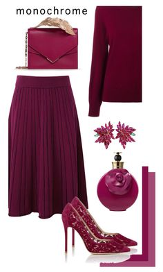 """Burgundy Skirt"" by sara12alexandra ❤ liked on Polyvore featuring Gianvito Rossi, Burberry, RALPH & RUSSO, Joana Salazar and Valentino"