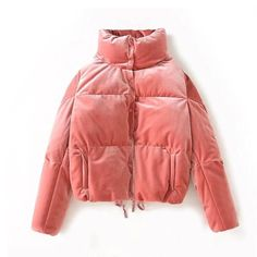 Get in the spirit with this luxurious puffer jacket that wows with all-over blush pink velvet. Borg Jacket, Bomber Jacket Outfit, Red Velvet Jacket, Velvet Coat Women, Pink Jacket, Streetwear Jackets, Velour Jackets, Outerwear Jackets, Cute Coats