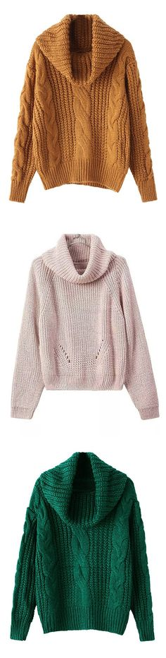Joeoy Women's Turtleneck Chunky Knit Loose Sweater Pullover