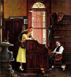 Norman Rockwell - Marriage License [June 11, 1955]