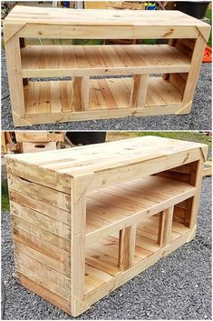 Making the best use of the repurposed pallet wood is only possible when you some useful DIY ideas. Yes, it is true that we can design countless interesting pallet crafts with the smart transformation of the old and wasted wooden stackings. Pallet Furniture Tv Stand, Pallet Tv Stands, Rustic Furniture, Pallet Tables, Wooden Pallet Projects, Wooden Pallets, Pallet Wood, Pallet Crafts, Furniture Projects