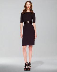 Michael Kors Leather-Waist Crepe Dress - Neiman Marcus