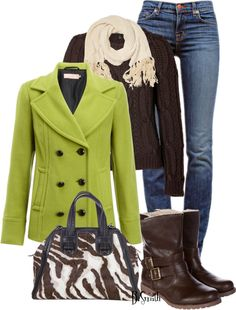 Love the lime green with brown . . . one of my fav combinations.  The animal print bag is awesome!