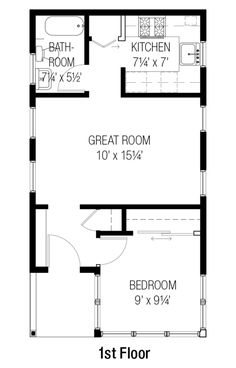 Cottage Style House Plan - 1 Beds 1 Baths 461 Sq/Ft Plan #915-15 Floor Plan - Main Floor Plan - Houseplans.com
