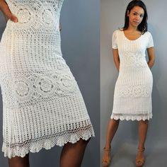 biała sukienka szydełka