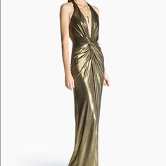 Gold lame' halter dress by Halston Never been worn, gorgeous Halston Heritage dress. Perfect for your next fancy event. This color is so in! Halston Heritage Dresses Maxi