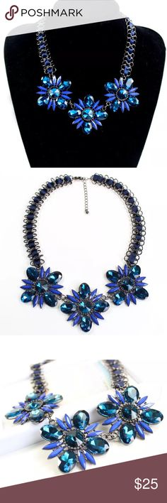 Just inRoyal Blue Statement Bib Necklace Beautiful New Silver/Gunmetal Color with Blue Lace, 3 Royal Blue Flowers in Crystal and resin. Stand out and classic High quality Jewelry. Karen1177 Jewelry Necklaces