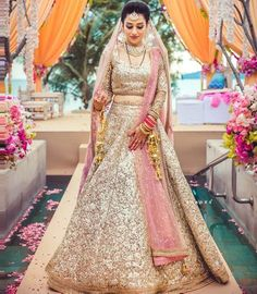 """light pink Sequins lehenga choli"" Posted by Needhi Dhoker (quote) via looksgud.in"
