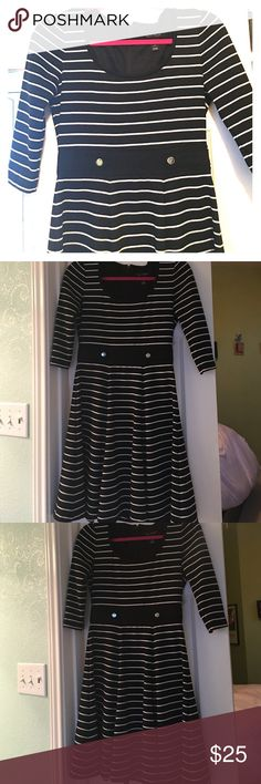 WHBM Black and white stripe dress Super cute stripe dress from White House Black Market - very flattering waist and neckline. Open to offers! White House Black Market Dresses