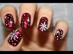 Holiday nails-red-white-snowflakes-dots