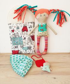 Rag Doll with BedDoll for PlayMom and Baby Handmade Stuffed