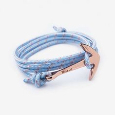 ANCHOR ON PASTEL ROPE BRACELET, ROSE GOLD-PLATED