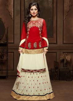 Venetian Red And Off White Faux Georgette Embroidered Festival Lawn Kameez