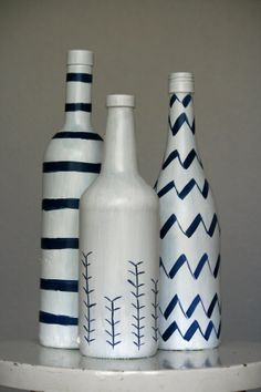 Cute and simple hand painted wine bottle trio by HeartHounds on Etsy.  Bonus!  All proceeds go to help fund the care of a rescue dog in need.  It's shopping, for a cause.