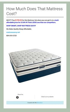 How Much Does That Mattress Cost?