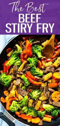 This is the easiest beef stir fry recipe out there with a simple 2 ingredient sauce you ll likely already have all the ingredients you need to make this healthy dinner idea! beefstirfry skilletrecipe simple breakfast to start a day Easy Beef Stir Fry, Simple Stir Fry Sauce, Chinese Beef Stir Fry, Beef Stir Fry Sauce, Steak Stir Fry, Venison Stir Fry Recipe, Healthy Stir Fry Sauce, Stir Fry Meat, Dinner Ideas