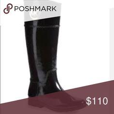Michael Kors Rainboots NWOT, tall. Waterproof. Shiny black rubber with MK gold hardware. Michael Kors Shoes Winter & Rain Boots