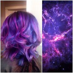 Galaxy hair! Purple blue and pink pravana vivids