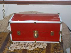 Vintage Red Doll Trunk by Daysgonebytreasures on Etsy