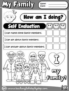 My Family - Self Evaluation (B&W version)