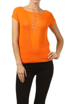 65 percent Cotton 35 percent Polyester 1S/1M/1L Per Pack Orange (shown), White This HIGH QUALITY top is BEAUTIFUL!! Very nice embellishments in front, this sweet short sleeve top with three quarter sleeves is made from a super soft and comfy fabric that is hand washable, and fits true to size.