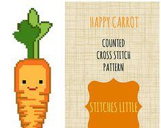 Kawaii Cross Stitch Pattern - Modern Cross Stitch - Happy Carrot - PDF Pattern - Instant Download