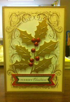 Anna 2013 Christmas Card Kit with holly die cut as feature piece