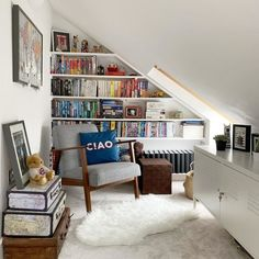 Anyone else love a reading nook? 📚 Utilise a tiny loft space by turning it into a cosy little area like this. Don't forget to include a or two to get some natural light in! - - - - Photo courtesy of Mrs Mev's House Attic Living Rooms, Attic Bedroom Small, Attic Loft, Loft Room, Attic Spaces, Bedroom Loft, Attic Bedroom Designs, Attic Library, Open Spaces