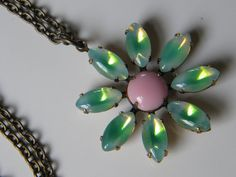 Vintage Glass Daisy Pendant Necklace  Peridot Green Sabrina Opal and Opaque Pink Glass Daisy Long Summer Daisy Necklace