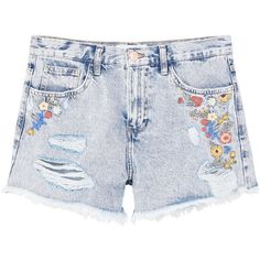 MANGO Embroidered denim short (£39) ❤ liked on Polyvore featuring shorts, high-waisted shorts, short jean shorts, zipper shorts, jean shorts and high-rise shorts