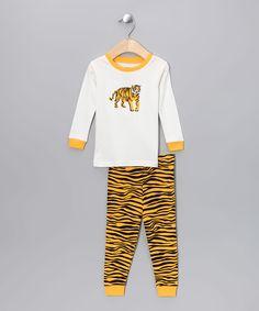 Yellow & Black Tiger Pajama Set - Infant, Toddler & Kids
