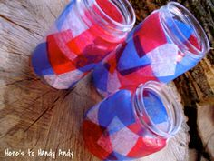 These are easy and beautiful!  And a great way yo recycle!  Modge Podge, tissue and jars!