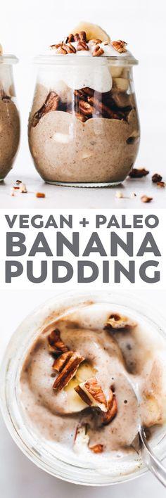 DREAMY vegan banana pudding the easy healthy way with bananas, chia seeds, cashews, medjool dates, and layers of crunchy pecans and coconut whipped cream! #banana #vegan #paleo #sugarfree #recipe #healthy #easyrecipe