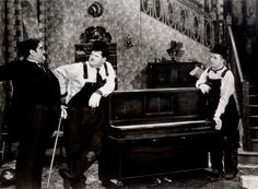 "Billy Gilbert, Oliver Hardy and Stan Laurel in the Academy Award winning short ""The Music Box"", 1932"