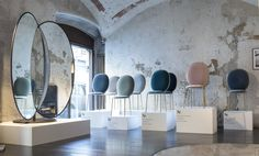 Olympia Freestanding Mirror, Stay Chairs - Sé at Spazio Rossana Orlandi, Milan 2015