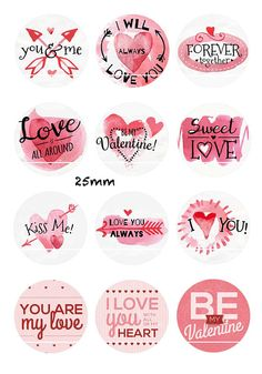 Special offer: code from purchase! Digital images/designs/collages for cabochon Available sizes: Round: mm Square: mm Oval: 22 * 30 / 29 * 20 / 18 * 25 / 13 * 18 / 10 * 14 / 8 * 10 Please specify the size you want when Scrapbooking Stickers, Scrapbook Paper, Bottle Cap Images, Be My Valentine, Printable Planner Stickers, Love Stickers, Collage Sheet, Collages, Gift Tags