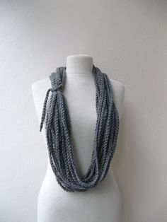 Hand crochet Grey Scarf Lariat Cowl Necklace - Fall Fashion Winter accessories Christmas Holiday $19 // is this cool? I can't decide