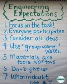 Use this anchor chart to establish expectations for STEM engineering projects. Simple STEM idea with free printables included, too! From More Than a Worksheet 4th Grade Science, Stem Science, Middle School Science, Science Experiments, Physical Science, Earth Science, Life Science, Science Books, Science Ideas